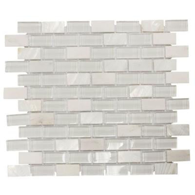 Polar Cap 12.5 in. x 10.75 in. x 8 mm Glass/White Marble Mosaic Wall Tile