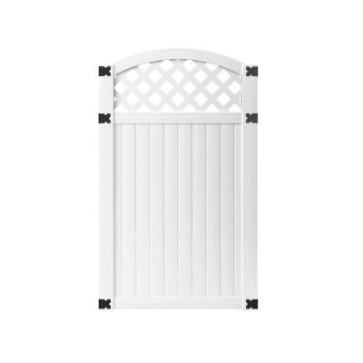 3.5 ft. x 6 ft. White Vinyl Lewiston Arched Lattice Top Fence Gate