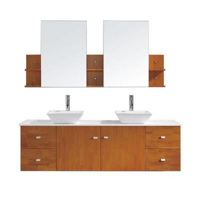Clarissa 72 in. Double Basin Vanity in Honey Oak with Pure White Stone Vanity Top and Mirror in White