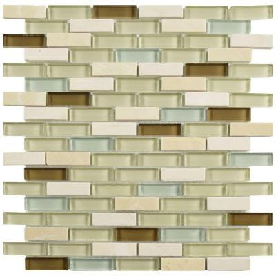Tessera Subway York 11-3/4 in. x 12 in. x 8 mm Stone and Glass Mosaic Wall Tile