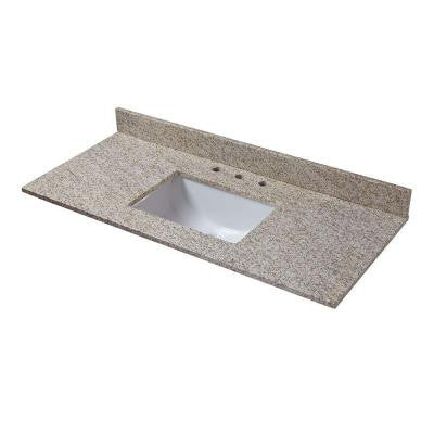 49 in. W Granite Vanity Top in Golden Hill with Trough Sink and 8 in. Faucet Spread