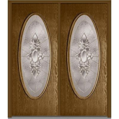 72 in. x 80 in. Heirloom Master Decorative Glass Full Oval Lite Finished Oak Fiberglass Double Prehung Front Door