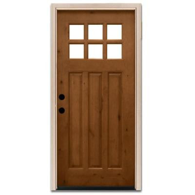 36 in. x 80 in. Craftsman 6 Lite Stained Knotty Alder Wood Prehung Front Door