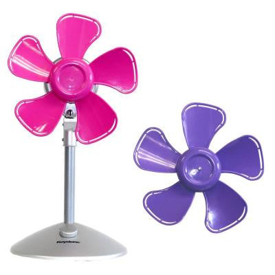 10 in. Flower Personal Fan with Interchangeable Blades in Pink and Purple