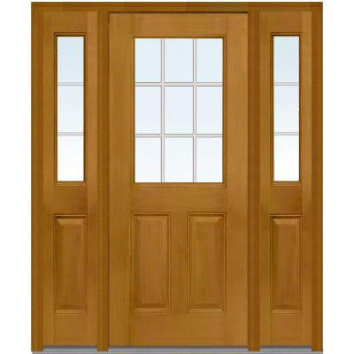 60 in. x 80 in. Classic Clear Glass GBG 1/2 Finished Mahogany Fiberglass Prehung Front Door with Sidelites