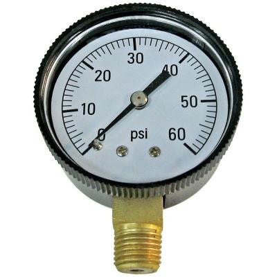 1/4 in. 0-60 LB-CD Pressure Gauge - Bottom Mounted