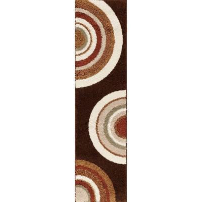 Circlets Chocolate 2 ft. x 7 ft. 6 in. Shag Rug Runner