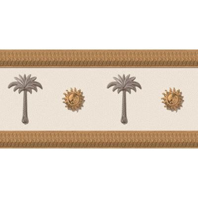 10.25 in. x 15 ft. Shimmer Palm Trees on Leather Looking Border