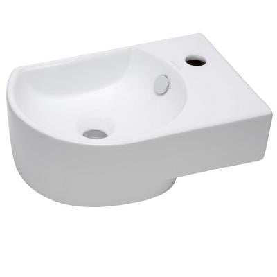 Wall-Mounted Rounded Modern Compact Bathroom Sink in White