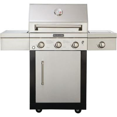 3-Burner Propane Gas Grill with Side Burner and Grill Cover
