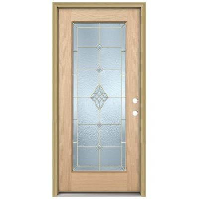 36 in. x 80 in. Rosemont Full Lite Unfinished Hemlock Wood Prehung Front Door with Brickmould and Brass Caming