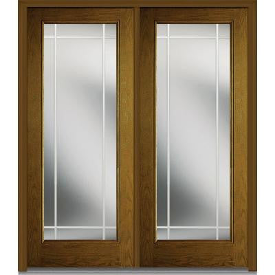 64 in. x 80 in. Classic Clear Glass PIM Full Lite Finished Oak Fiberglass Double Prehung Front Door