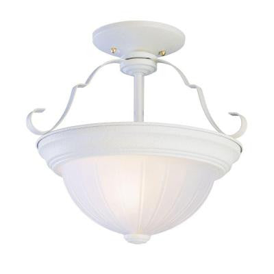 2-Light Antique White Semi-Flush Mount with Frosted Melon Glass