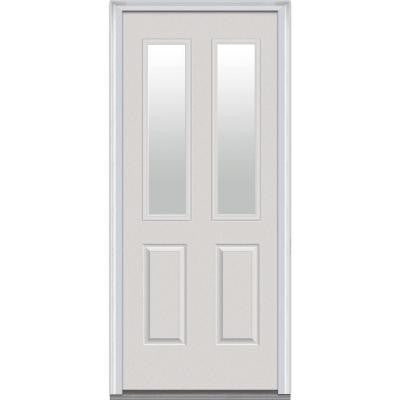 34 in. x 80 in. Classic Clear Glass 2 Lite 2-Panel Primed Fiberglass Smooth Prehung Front Door