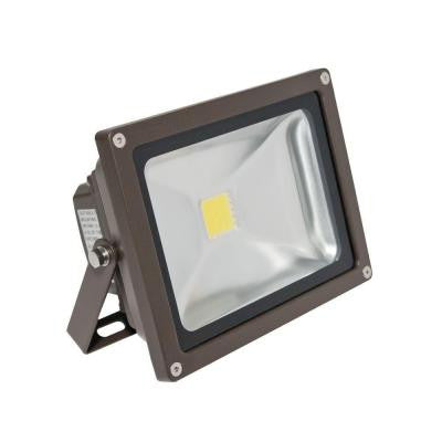 Wall-Mount 1-Head Outdoor Bronze LED Soft White Mini Flood Light