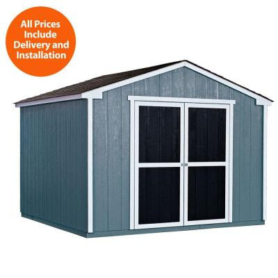 Installed Princeton 10 ft. x 10 ft. Wood Storage Shed with Onyx Black Shingles