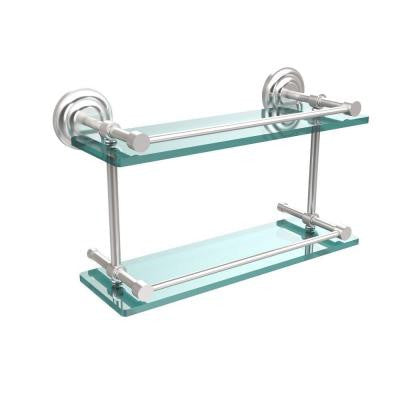 Que New 16 in. W x 16 in. L Double Glass Shelf with Gallery Rail in Satin Chrome