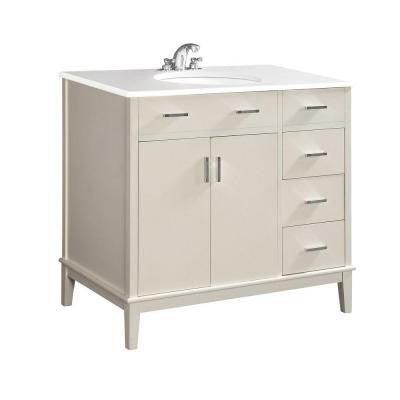 Urban Loft 36 in. Vanity in White with Quartz Marble Vanity Top in White and Under-Mounted Oval Sink