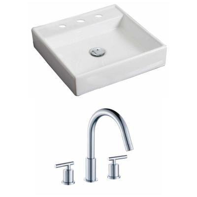 Square Vessel Sink Set in White with 8 in. O.C. cUPC Faucet