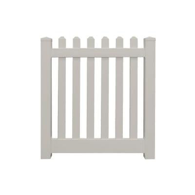 Spokane 4 ft. x 4 ft. Tan Vinyl Picket Fence Gate