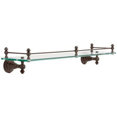 Victorian 20 in. W Shelf with Rail in Glass and Venetian Bronze