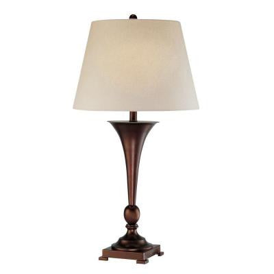 Designer Collection 33 in. Bronze Table Lamp with White Fabric Shade