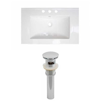 24 in. W x 18 in. D Ceramic Vanity Top Set with Basin in White and Drain