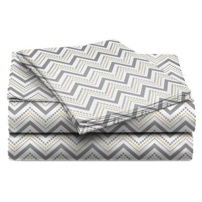 Jill Morgan Fashion Printed Chevron Straw Microfiber Twin Sheet Set (3-Piece)