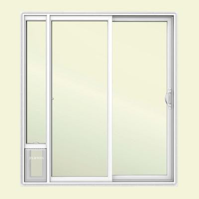 72 in. x 80 in. White Right Hand Vinyl Patio Door with Low-E Argon Glass, Grids and Small Pet Door