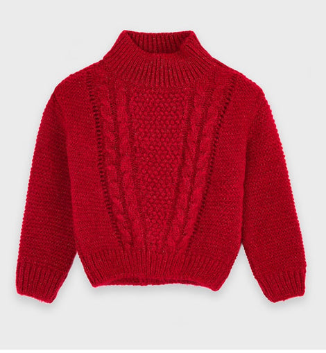 Chunky Red Cable Knit Sweater