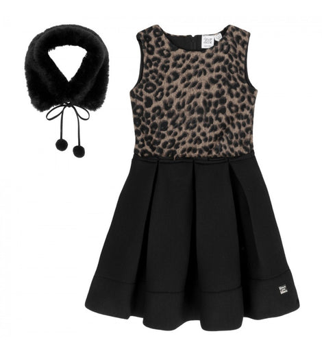 Leopard Neoprene Dress with Collar