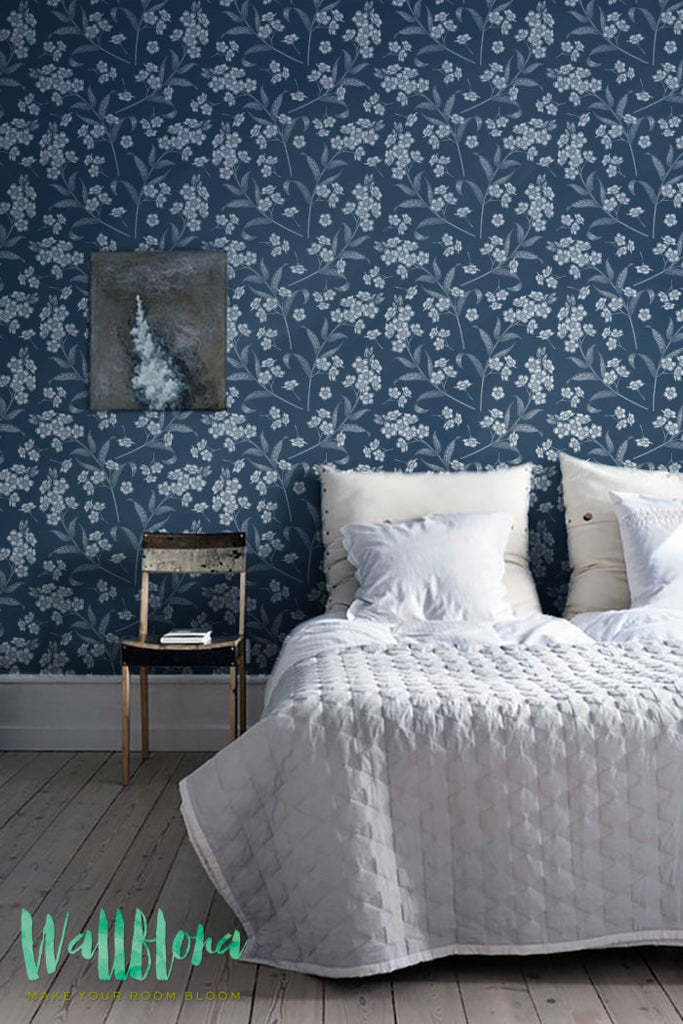 Forget Me Not Blue And White Pattern Wallpaper