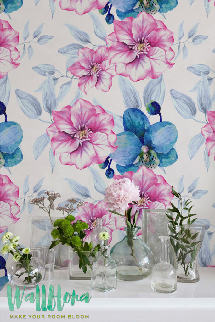 Blue Orchid Flower Pattern Wallpaper Pink Rose Removable Wallpaper Heliconia Wallpaper Wall Sticker Heliconiaself Adhesive Wallpaper