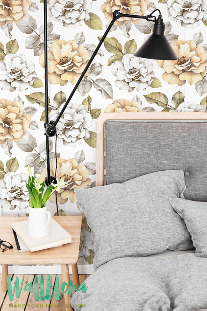 Balmy Garden Rose Self Adhesive Wallpaper Temporary Wall Decal Wallpaper Roll Vinyl Wallpaper
