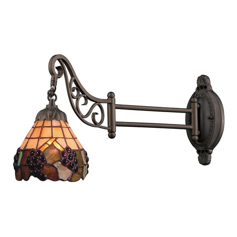 Mix-N-Match 1 Light Swingarm In Vintage Antique With Stained Glass Wall Elk Lighting