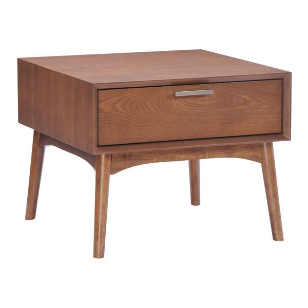 Design District Side Table Walnut Furniture Zuo