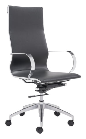 Glider Hi Back Office Chair Black Furniture Zuo