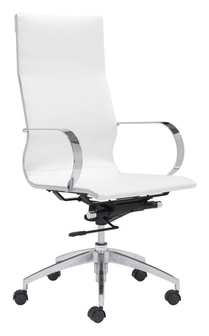 Glider Hi Back Office Chair White Furniture Zuo