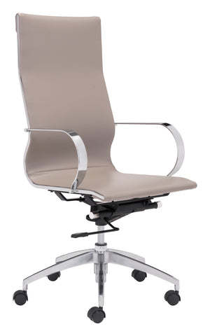 Glider Hi Back Office Chair Taupe Furniture Zuo