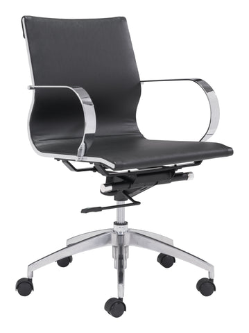 Glider Low Back Office Chair Black Furniture Zuo