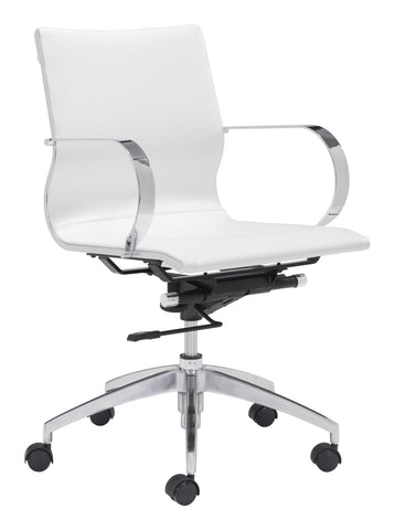 Glider Low Back Office Chair White Furniture Zuo