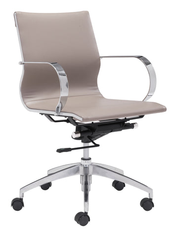 Glider Low Back Office Chair Taupe Furniture Zuo