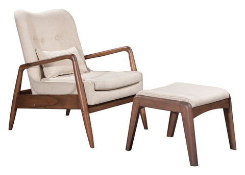 Bully Lounge Chair & Ottoman Beige Furniture Zuo