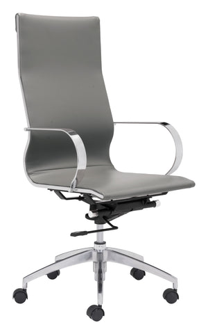 Glider High Back Office Chair Gray Furniture Zuo