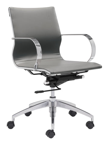 Glider Low Back Office Chair Gray Furniture Zuo