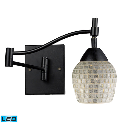 Celina 1 Light LED Swingarm Sconce In Dark Rust And Silver Glass Wall Elk Lighting