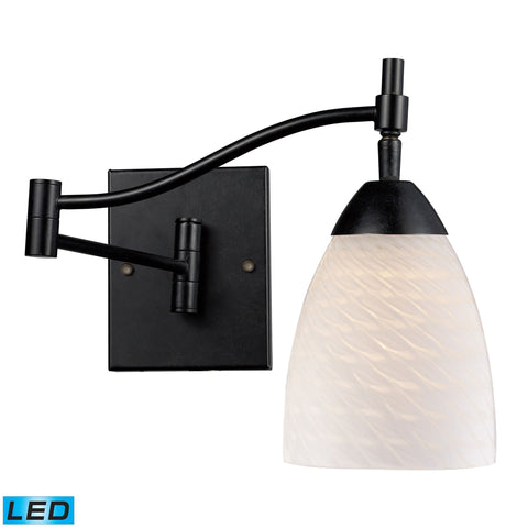 Celina 1 Light LED Swingarm Sconce In Dark Rust And White Swirl Glass Wall Elk Lighting