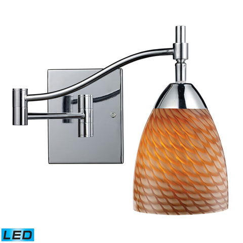 Celina 1 Light LED Swingarm Sconce In Polished Chrome And Cocoa Glass Wall Elk Lighting