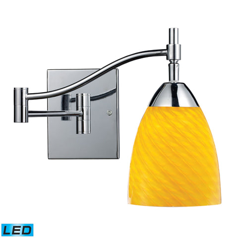 Celina 1 Light LED Swingarm Sconce In Polished Chrome And Canary Glass Wall Elk Lighting