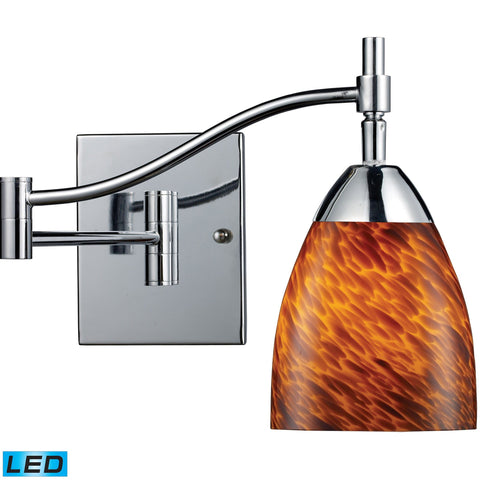 Celina 1 Light LED Swingarm Sconce In Polished Chrome And Espresso Wall Elk Lighting